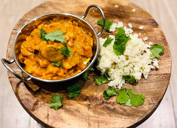 Vegan Mushroom and Sweet Potato Curry with Cauliflower Rice