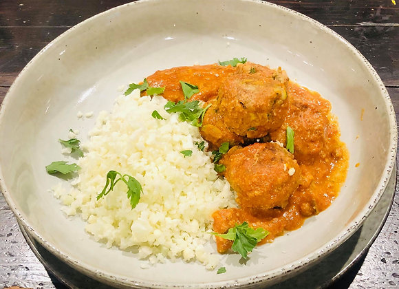 Coconut Curry Meatballs with Cauliflower Rice