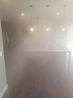 Kitchen filled with dry fog to eradicate, remove and disinfect Mould.