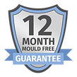 An icon displaying Pure Maintenance UK's 12 month guarantee against the reappearance of mould. If the mould returns, so will we.