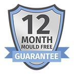 A badge showcasing the 1 year guarantee that comes with Pure Maintenance UK's mould remediation services