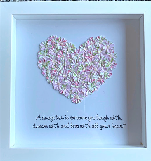 Medium Heart: Pink, Green and White SOLD