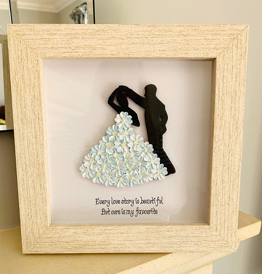 Blue Dancing Couple with Quote