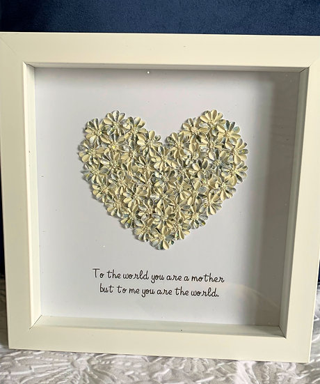Cream and Blue Heart with a quote for a mother