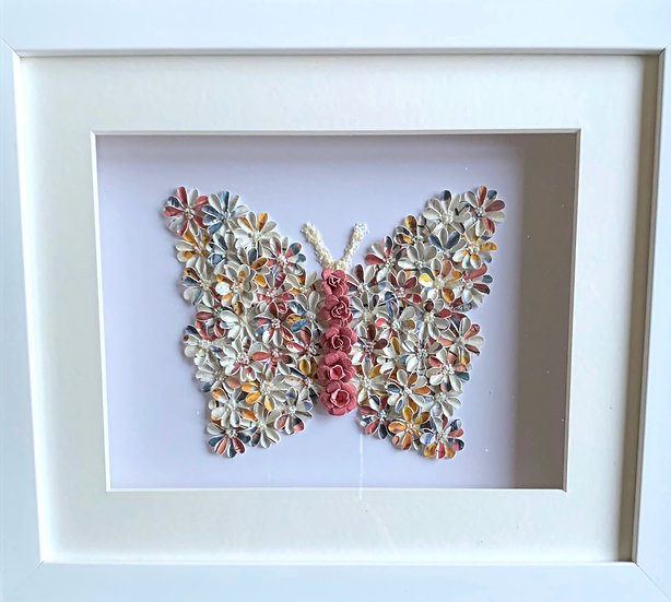 Butterfly: Cream, orange and Blue