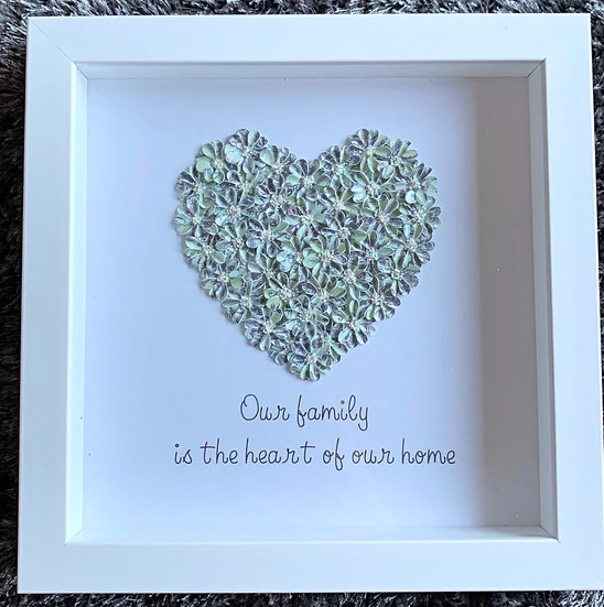 Medium Heart: Blue and Grey with family quote