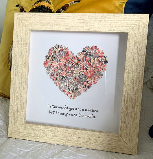 Pink  and Grey Heart with a quote for a mother