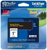 """Brother TZe354 24mm (0.94"""") Gold on Black tape for P-Touch 8m (26.2 ft)"""