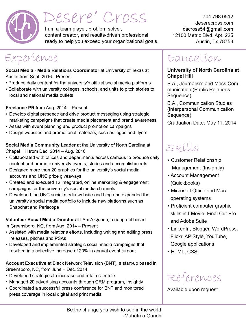 Desere\'s Resume