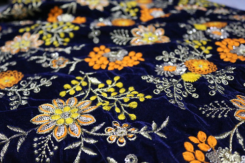 Heavy Kashmiri embroidery on Velvet