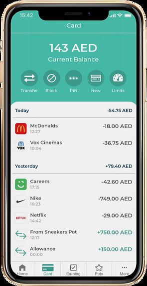 savii uae precard transactions screen