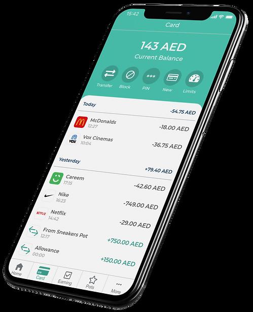 savii dubai prepaid card transactions screen