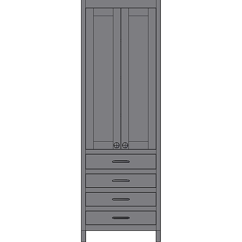 Tall Unit 2 Doors and 4 Drawers