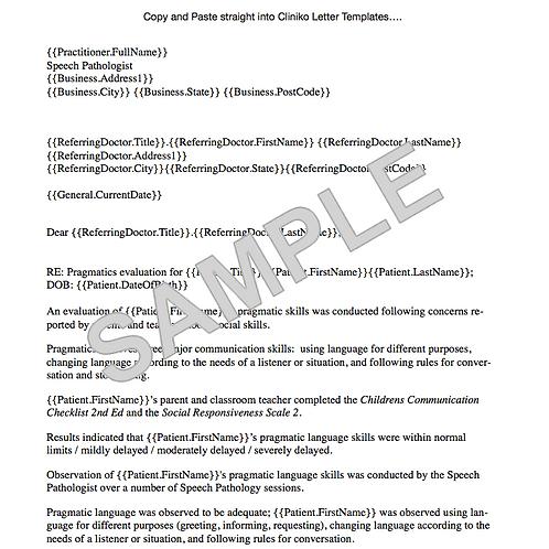 Speech Pathology Pragmatics Report Template