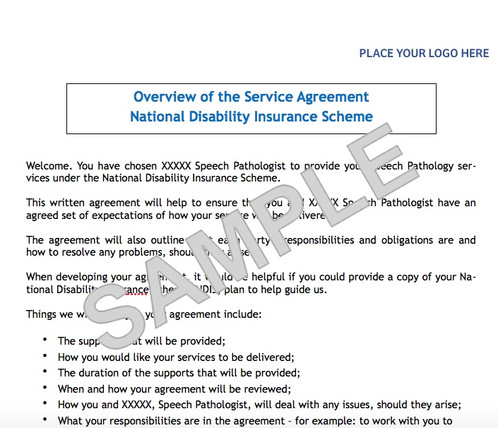 Ndis Service Agreement Template  Speech Pathologist Healesville And