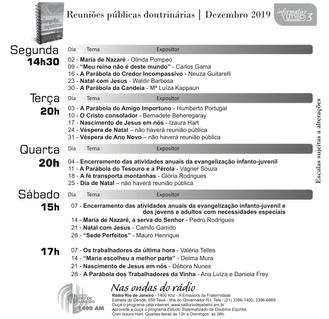 Agenda de palestras - Dez/19