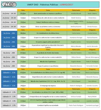 Agenda de Palestras - Junho 2017