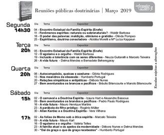 Veja a agenda de palestras de Março/19