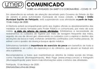 Comunicado - Sobre as atividades da Umep e Coronavírus