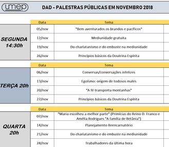 Agenda de palestras de Nov 18