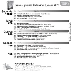 Palestras de Janeiro 2019