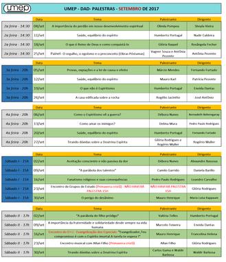 Agenda de palestras Umep setembro 2017