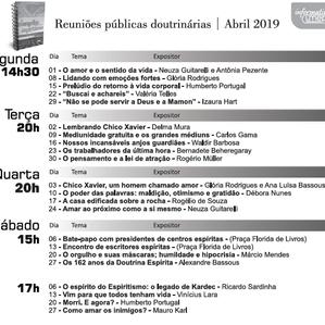 Agenda de palestras Abril 2019