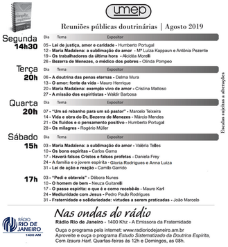 Umep - Agenda de palestras - Agosto 2019