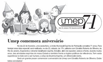 Fevereiro - Mês do Aniversário da Umep