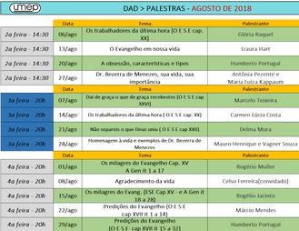 Veja a agenda de palestras públicas de Agosto na Umep