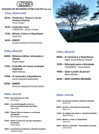 Agenda de palestras de Fevereiro
