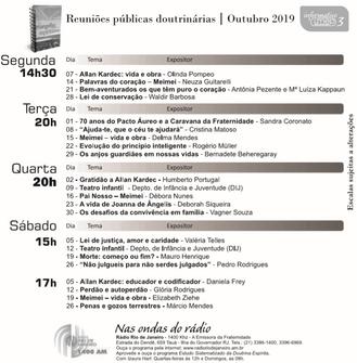 Agenda de palestras de Outubro 2019