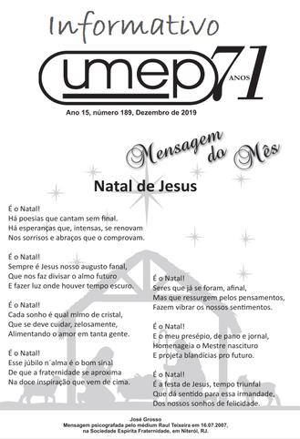 É o Natal de Jesus : Mensagem do mês