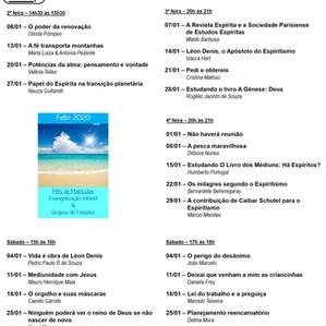 Agenda de palestras - Janeiro 2020