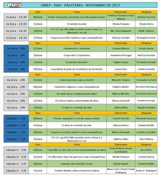 Agenda de Palestras Nov/17