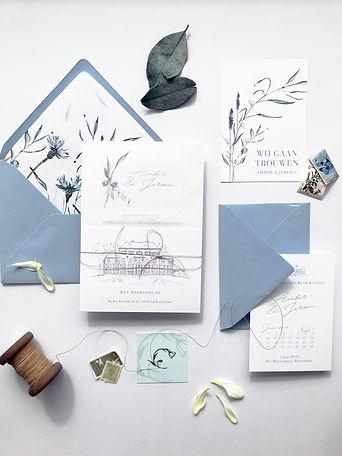 4 delige trouwkaarten set | bruiloft uitnodigingen