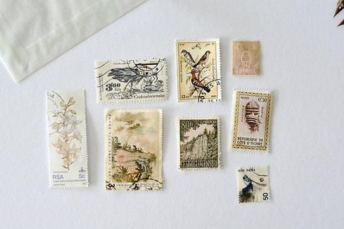 Vintage Postzegels - Beige