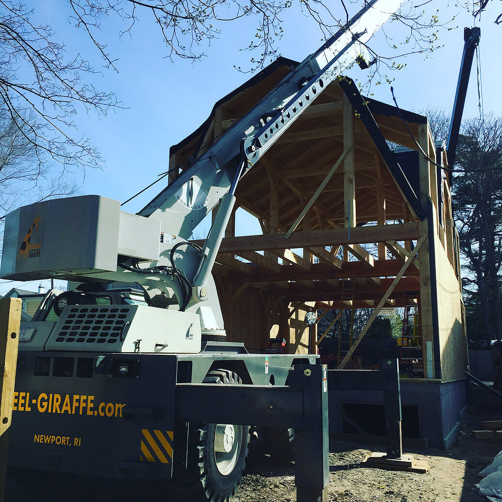 Timber frame build with Crane