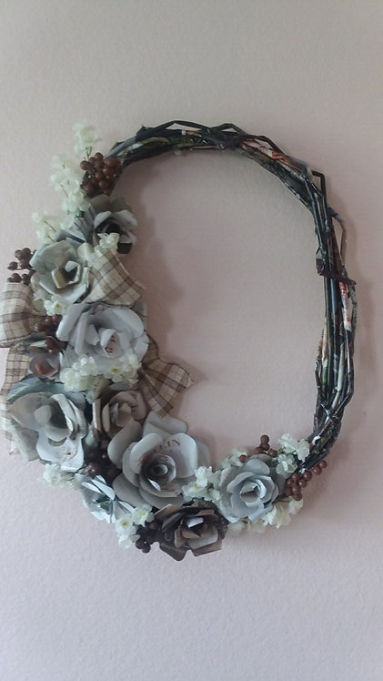 Fall Inspired Magazine Paper Wreath