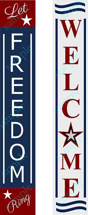 Private - Welcome | Freedom - Double Sided Porch Sign - 8x60