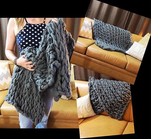 Super Chunky & Soft Hand-Knit Blanket
