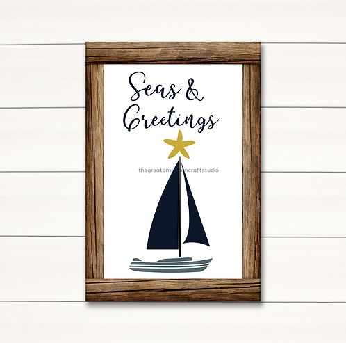 Seas & Greetings Sailboat - 16x20
