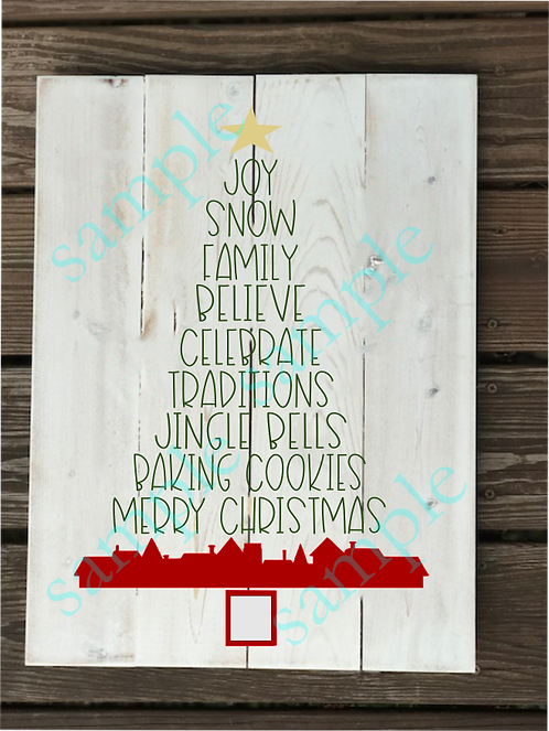 Private - Christmas Tree Text - 16x20