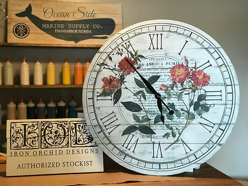 "Private - 30"" Wood Functional Clock - Iron Orchid Designs Transfers"