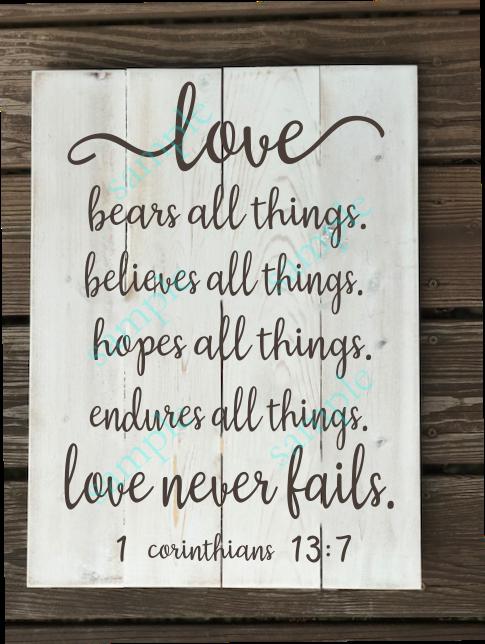 Love Never Fails - 16x20