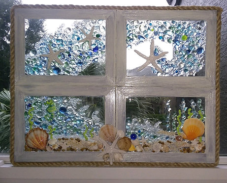 Window Pane Beach Glass Art- BMcDonnell