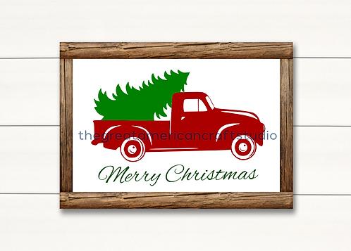 Merry Christmas Truck - 12x18
