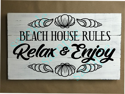 Private - Beach House Rules - Relax - 12x18