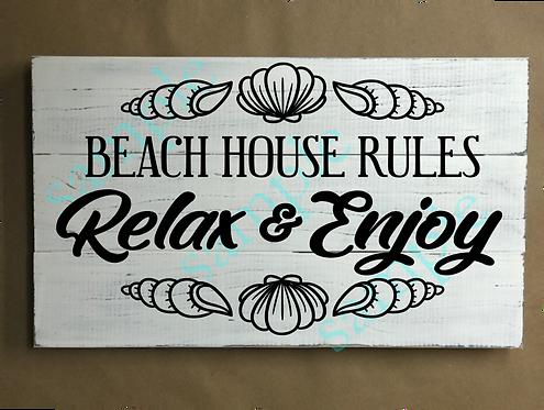Beach House Rules - Relax - 12x18