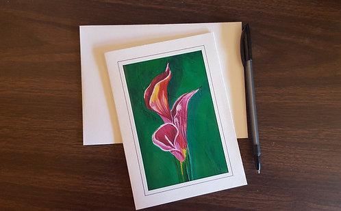 "Calla Lilies 2-f 5""x7"" Greeting Card"